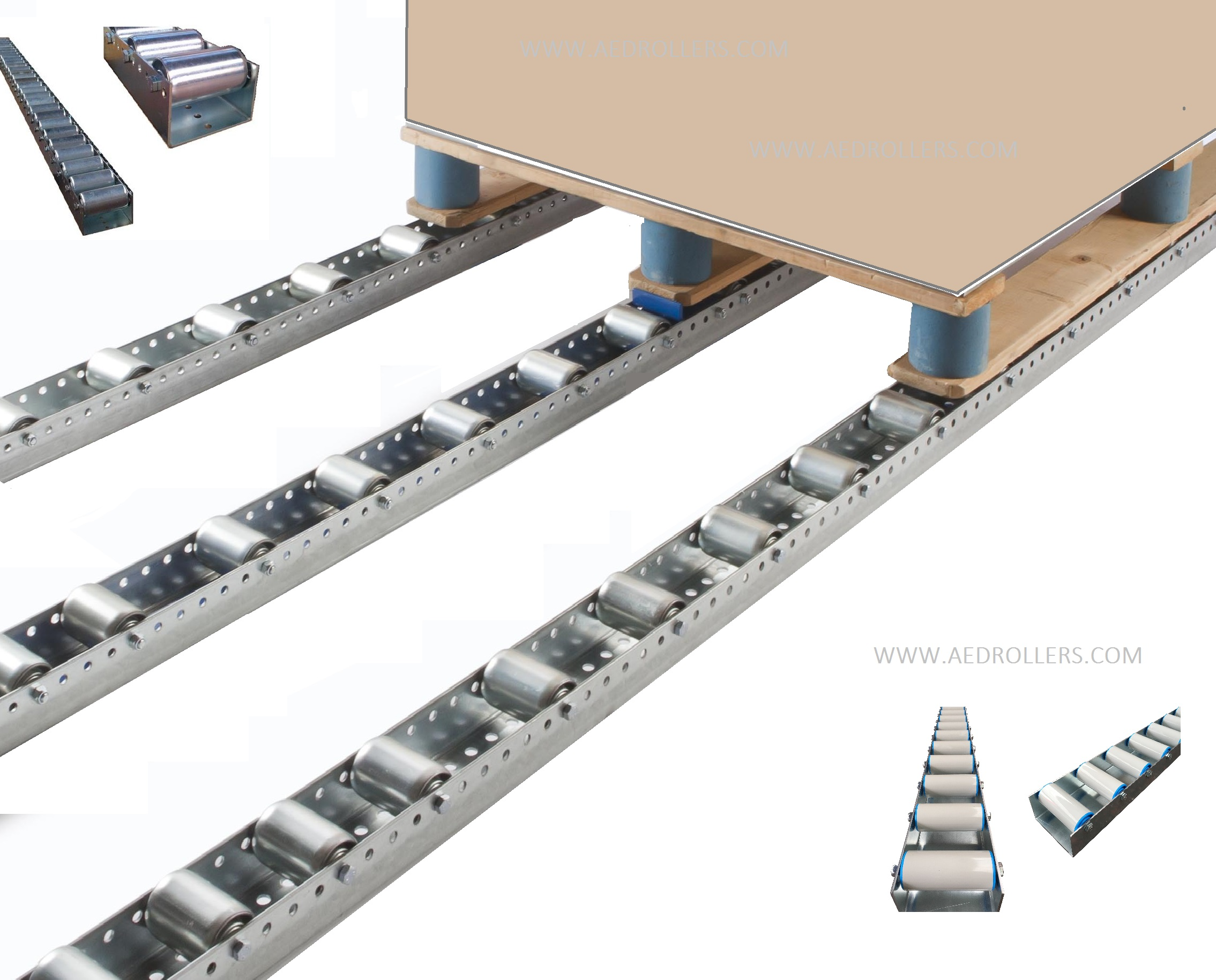 Pallet live storage floor conveyor 104mm Pitch(NR2000 pallet tack)