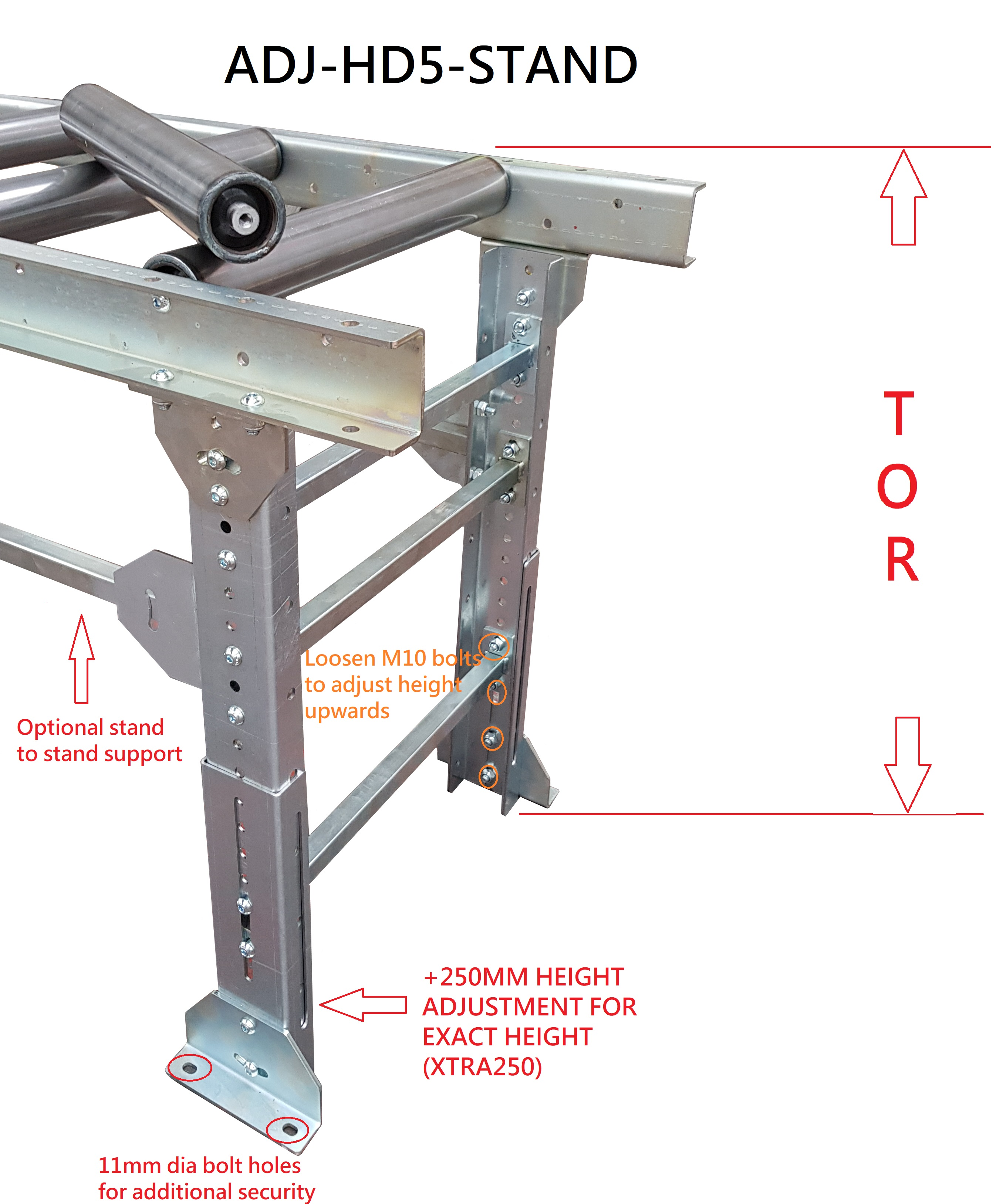ADJ-HD5 Heavy duty Conveyor stand - <750 KGS